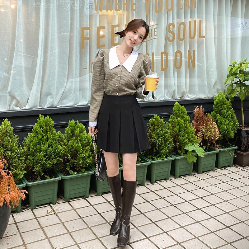 sk5042 걸리시한 무드의 플리츠 주름 뒷밴딩 미니 스커트 skirt