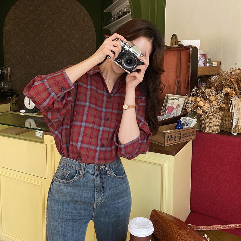 bs6494 감성 가득 체크 패턴의 루즈핏 코튼 셔츠 남방 blouse