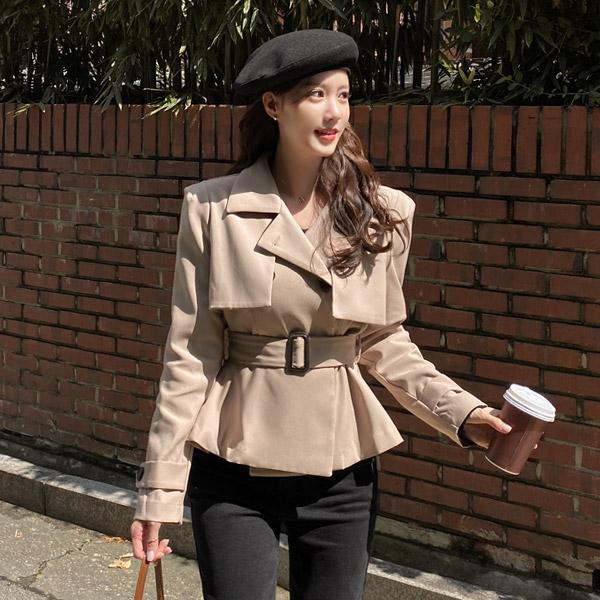 ct1344 트렌치 디자인의 A라인 실루엣 벨트세트 더블버튼 하프 트렌치 코트 coat