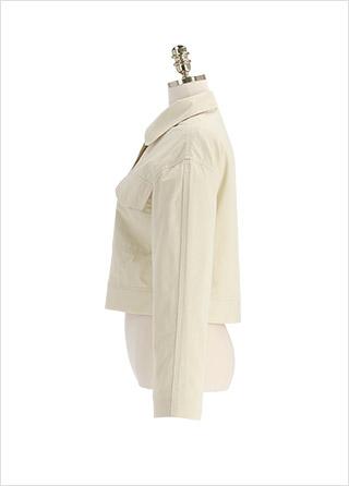 jk1712 캐주얼한 무드의 투포켓 크롭 카라 자켓 jacket