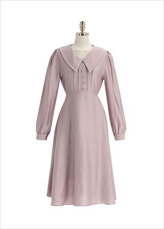 op12647 새틴 광택감의 모달 소재로 완성된 로맨틱 카라넥 롱 플레어 원피스 dress