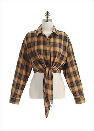 bs6510 키치한 무드의 타이 장식 체크 블라우스 blouse