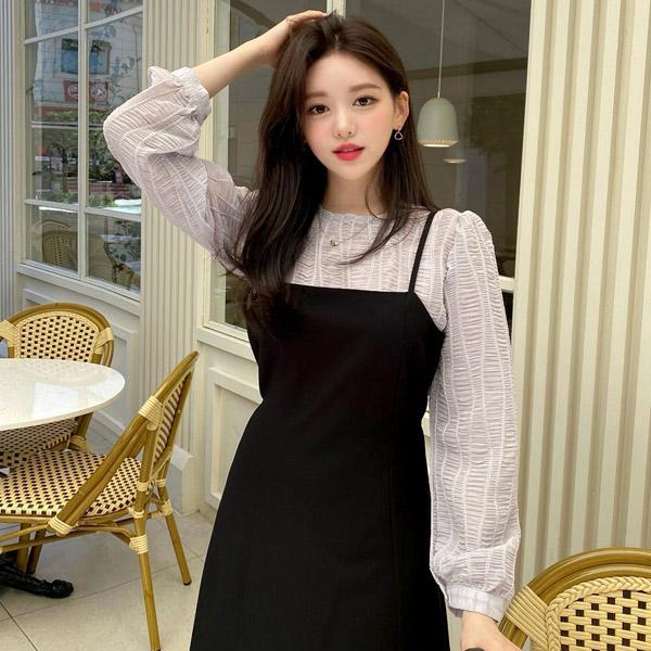bs6518 입체감 있는 웨이브 엠보 쉐입의 긴팔 블라우스 blouse