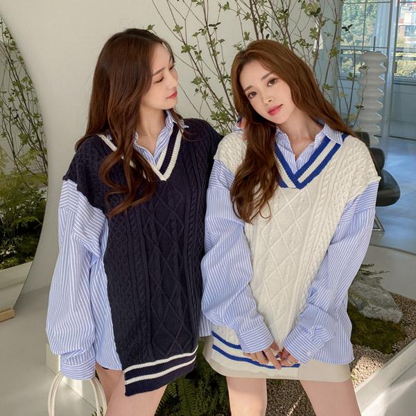 op12698 배색 니트 베스트 디자인의 아방한 H라인핏 스트라이프 카라 셔츠 원피스 dress