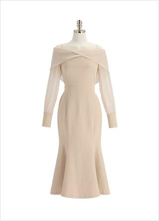op12702 매혹적인 오프숄더 디자인의 배색 머메이드 롱 드레스 dress