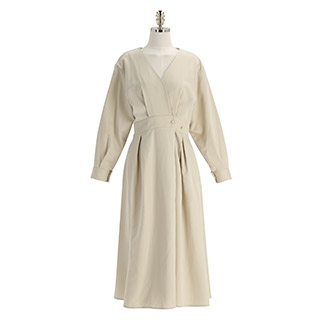 op12737 브이넥 단추 랩 디자인의 뒷밴딩 플레어 롱 원피스 dress