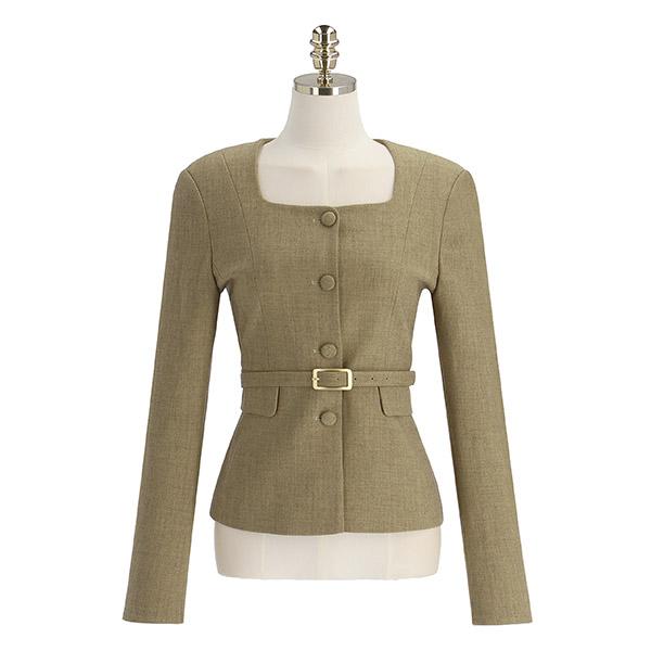 jk1746 벨트 세트 구성의 스퀘어넥 노카라 자켓 jacket