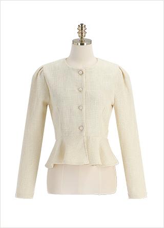 bs6538 골드 진주 단추와 퍼플럼 디테일로 완성된 로맨틱 트위드 크롭 블라우스 blouse