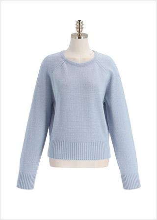nt3011 선명한 컬러 구성의 캐주얼 울 혼방 세미 크롭 니트 knit