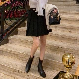 sk5120 飾りバックル付きプリーツミニスカート