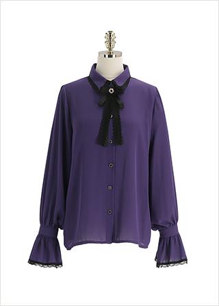 bs6553 페미닌한 무드의 브로치 세트 구성 레이스 트리밍 카라 셔츠 블라우스 blouse